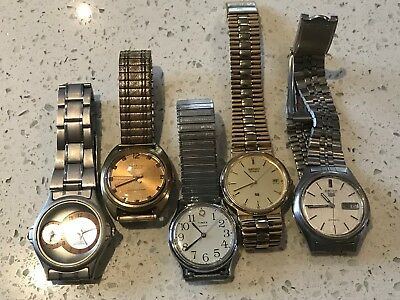 Lot of 5 Vintage Watches sold as spares or repair - (LT6)