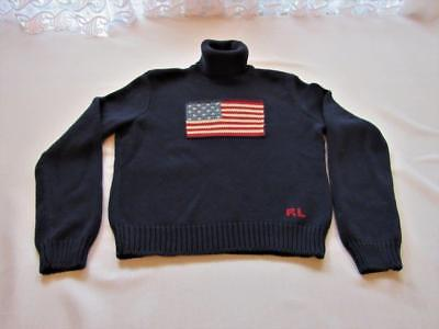 Vintage Polo Country Ralph Lauren American Flag Knit Turtle Neck Sweater Sz. XL