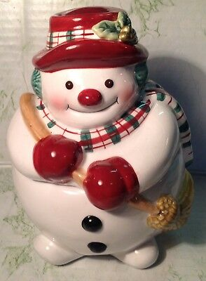 "Fitz & Floyd Snowman Lidded treat Candy Jar pre-owned  approx 6"" Christmas"