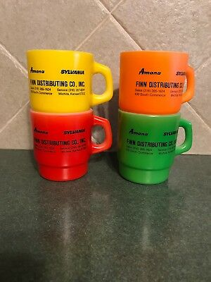Fire King Advertising Coffee Mugs Lot Of 4 Amana Sylvania Fired On Stacking Cups