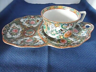 Chinese Famille Rose Tennis Snack Plate And Cup Set