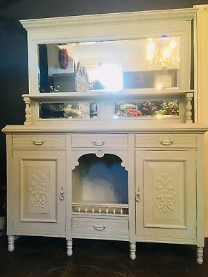 Edwardian  Painted Mirror Back Chiffonier