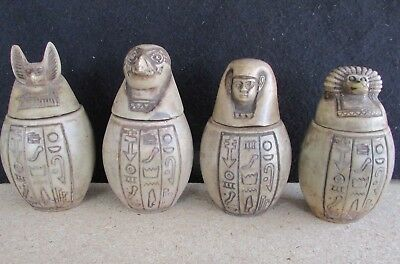 4 Egyptian Ancient Canopic Jars - Organs Storage Statues - Pharaoh Collection