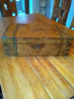 Beautiful huge Antique Walnut Burr Box Chest needs some restoration