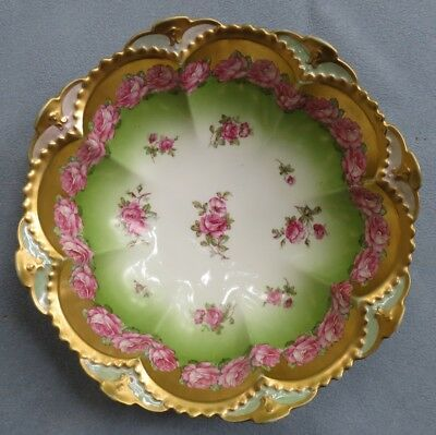 Antique Hand Painted Austria Large 11 Inch Serving Bowl Pink Roses w Heavy Gold