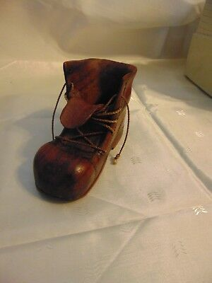 Vintage Carved Wood Boot Shoe Pipe Rest Stand Holder