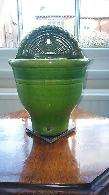 UNUSUAL GREEN GLAZED CERAMIC WALL MOUNTED PLANTER. Would suit conservatory