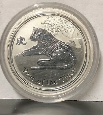 Australia 2010 50 Cents, Year Of The Tiger A Gem Bu Silver, Mint In Capsule #d