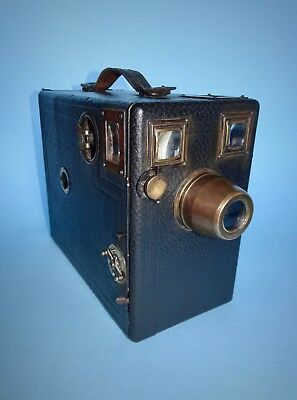 Falling Plate camera c.1900 with unusual brass mounted lens - body excellent