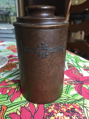 Art Nouveau Heintz Metalware Canister (humidor) Sterling Over Bronze