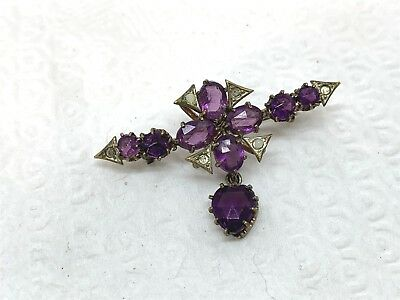 Antique or Vintage Brass Dangle Pin with Purple & Clear Rhinestones