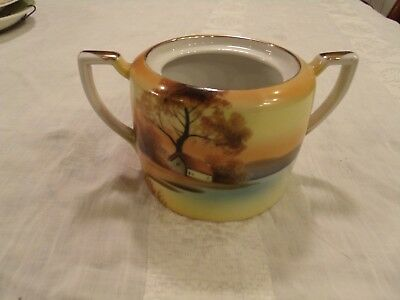 Noritake M Morimure Japan Hand Painted Sugar Bowl Sunset Lake House Tree Handles