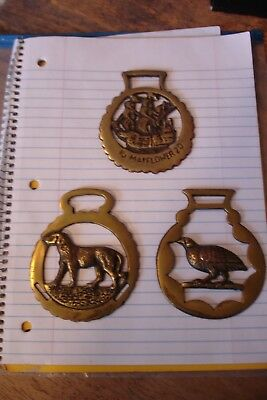 Vintage Lot of 3 Solid Brass Horse Harness Bridal Tack Medallions Made in Englan
