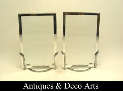 Pair of Art Deco Chrome-plated Metal Photo or Picture Frames (14x9cm)