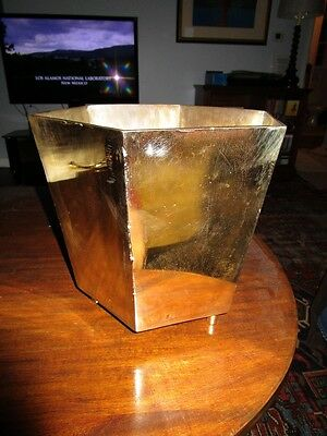 Vintage Heavy Brass Mid Century Hexagon Jardiniere on Solid Brass Peg Feet c1950