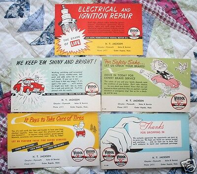 5 VINTAGE VEEDOL MOTOR OIL SAFETY CHECK CARDS H.T.JACKSON CHRYSLER PLYMOUTH nos