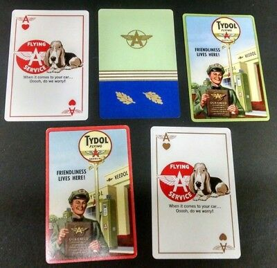 old VINTAGE TYDOLL VEEDOL FLYING A OIL& GAS (5) SINGLE PLAYING CARDS LOT