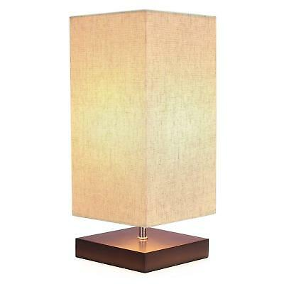 Retro Bedside Table Lamp Pro Minimalist Solid Wood Desk Lamps with Square Fabric
