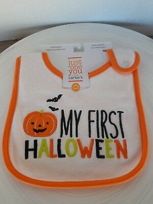 Carter's infant bib  My First Halloween Bib Bat Jack O Lantern Trick Treat