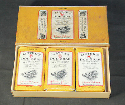Antique Vintage Box of Johnson & Johnson Lister's Dog Soap