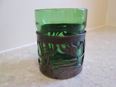 Art Nouveau Green Glass Vase Decorated With Metal Overlay - C.1905