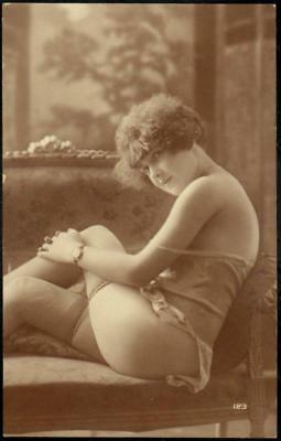 Real Photo French Boudoir PPC - Beautiful Girl in Lingerie, Stockings - Erotic