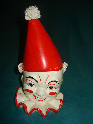 Neat Old Vintage Antique Patina 1960's? Red & White Circus Clown Head Vase 7""