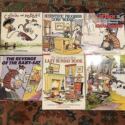 LOT of 6 Calvin and Hobbes by Bill Watterson Paperback Comics - The Essential, +