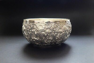 A Lovely Antique Burmese Repousse Silver Bowl - Not Scrap