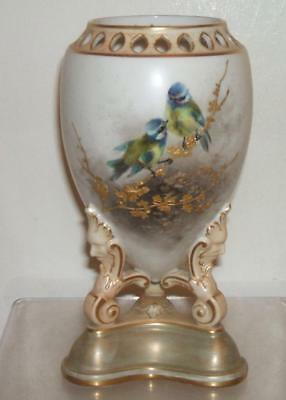 ROYAL WORCESTER c.1910 SIGNED JAMES STINTON RARE GILT BLUE TITS VASE