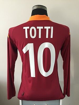TOTTI #10 Roma Long Sleeve Home Football Shirt Jersey 2012/13 (M)