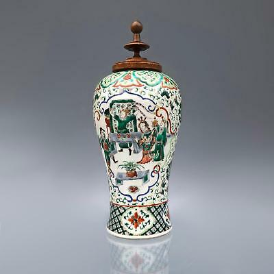 Large antique CHINESE FAMILLE VERTE WUCAI VASE + WOODEN COVER 19th C. porcelain