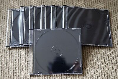 100 Slim 5.2mm Black Music DVD Blu-ray Photography CD Disc Storage Jewel Cases