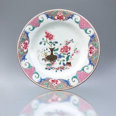 Fine antique c1735 YONGZHENG FAMILLE ROSE PLATE 18th Century Chinese porcelain