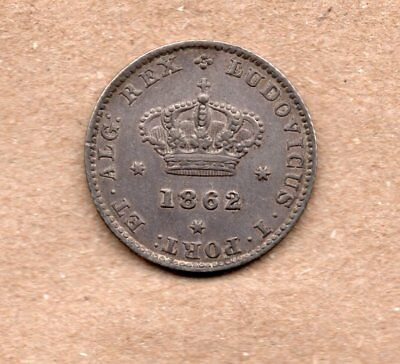 Portugal - 50 Reis - 1/2 Tostao - Luis I - 1862 - Silver Coin
