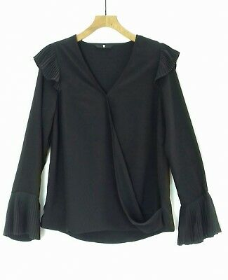 V By Very Black Crossover V Neck Pleated Frill Long Sleeve Top Blouse Sz Uk 14