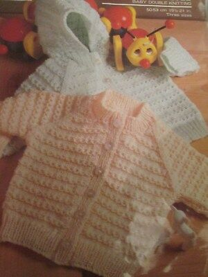 Knitting Pattern Lovely Babys Cardigans With & Without Hood Size 18-22 DK