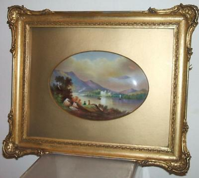 Rare Paragon Hand Painted Signed Plaque Kilchurn Castle, Loch Awe Gilt Frame