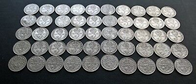 50 x PRE1920 0.925 SILVER THREEPENCE 3d COINS-68.9g in weight