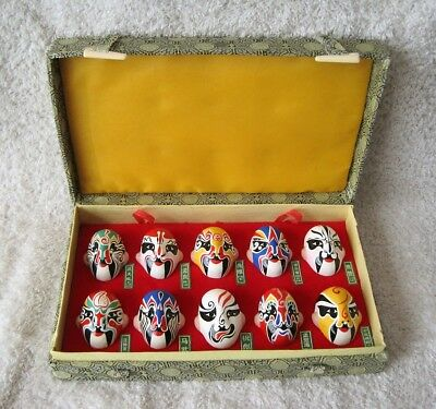 Chinese Miniature Opera Mask Set - In Original Silk Cloth Case - Collectible!!