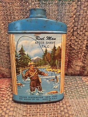 Vintage Antique Fish Rod Reel Man After Shave Talc Powder Tin Hunt Gun River WOW