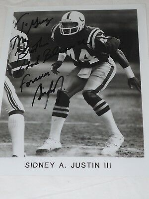 """Scarce Sidney A.Justin III Autographed Baltimore Colts Photograph 8"""" x 10"""""""