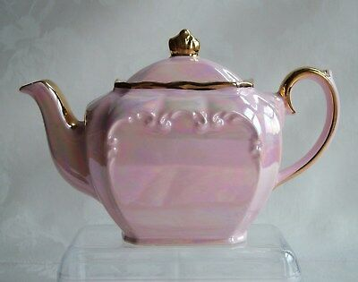 Sadler Pink and Gold Cube Lustre Pearl Effect Teapot