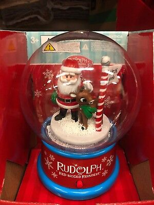 NEW Musical Plastic Snow Globe RUDOLPH the Red-Nosed Reindeer & Santa Holiday