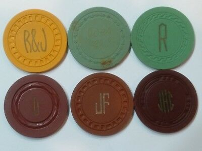 6 Antique Gaming Poker Casino Chips Various Molds Some From Illegal Clubs
