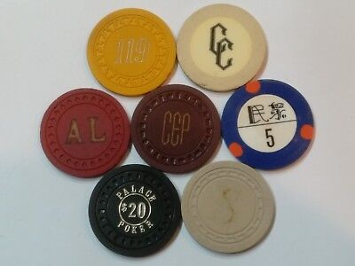 7 Antique Gaming Poker Casino Chips Various Molds Some From Illegal Clubs