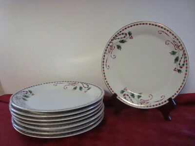 Home Essentials Holiday Christmas Holly Berries Tartan Ribbon 8 ~ Dinner Plates