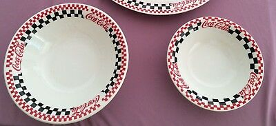 "Gibson Coca-Cola Brand Dinnerware TWO BOWLS 8"" & 10"" Red Black Checkered Coke"