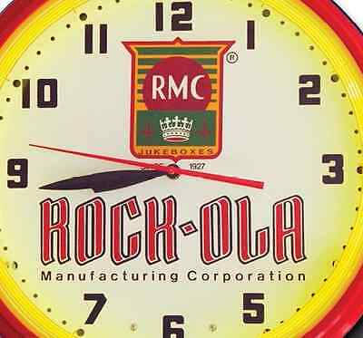 Rock-Ola Music RMC Jukebox Red Neon Clock Hand Made In USA 20 Inch Game Room