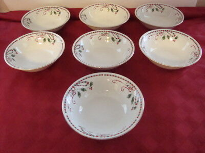 Home Essentials Holiday Christmas Holly Berries Tartan Ribbon 7 ~ Cereal Bowls